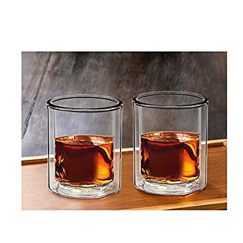 Sun's Tea Strong Double Wall Insulated Old-fashioned Whiskey Glasses | Classic Scotch Whiskey Glasses | Bourbon Rocks…