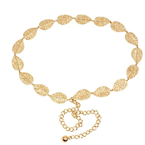 Gold Metal Chain Belt (OULII Leaf Shaped Waist Chain Metal Waist Chain Belt For Women Girls (Gold))