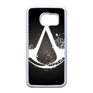 12344 Assassins Creed Logo 1,920 1,080 Juego Funda Samsung Galaxy S6 Edge teléfono celular de la caja blanca del teléfono celular del caso plástico durable N7J7TY