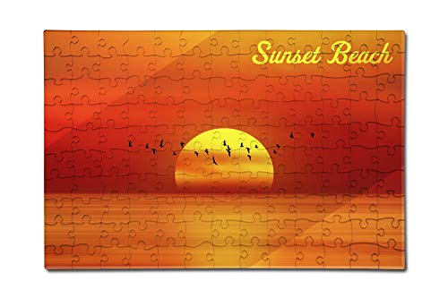 Sunset Beach - Sunset over Ocean (12x18 Premium Acrylic Puzzle, 130 Pieces)