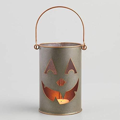 (Way Home Fair Galvanized Metal Jack O Lantern Tealight Candleholder)