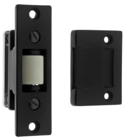 Idh by St. Simons 12017-019 Solid Brass Heavy Duty Silent Roller Latch with Adjustable Square Strike44; Matte Black