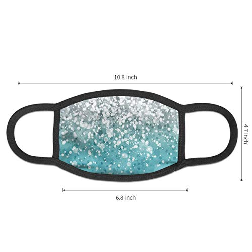 Face Masks Silver Falling Sparkles On Light Blue Glitter Earloop Mouth Masks - Adjustable Elastic Strap for Travel Skate, Anti Dustproof Face and Nose Cover, Half Face Mouth Mask/Cover