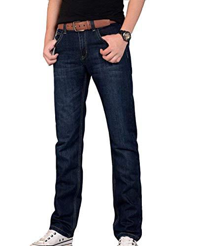 De Mezclilla Dunkelblau2 Rectos Regular Moda La Ocasionales Básicos Retro Pantalones Vaqueros Los Pierna Hombres Recta Battercake Elástica Cómodo qYUEc