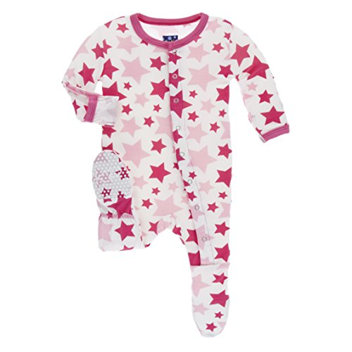KicKee Pants Little Girls Print Footie with Snaps - Flamingo Star, 0-3 Months
