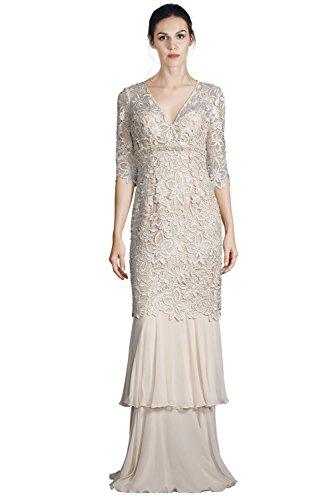 Teri Jon Floral Lace Tiered Mermaid Hem Evening Gown Dress
