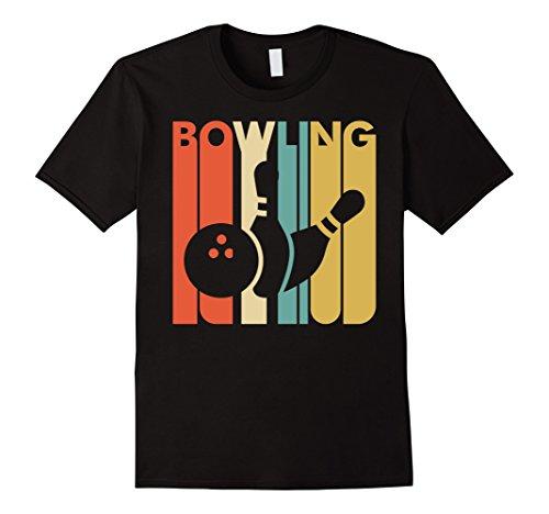 Mens Vintage Style Bowling T shirt Large Black (Classic Bowling Shirt)
