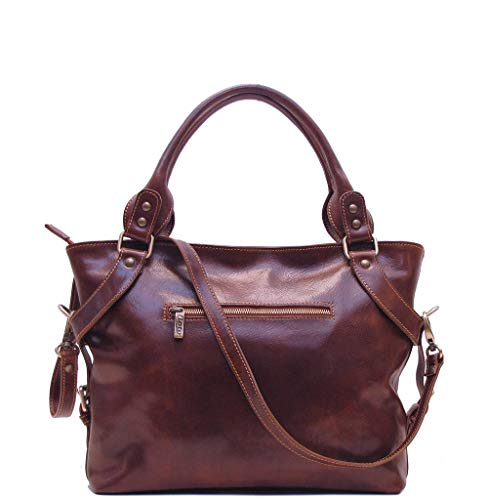 Floto Brown Taormina Bag in Italian Calfskin Leather - handbag, shoulder bag, hobo Brown Italian Leather Handbag