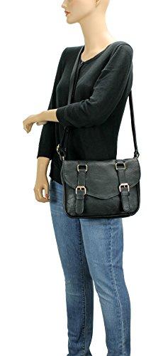 Black Crossbody Belt H1725 Scarleton Front Decorative Bag SqBwCt4UY