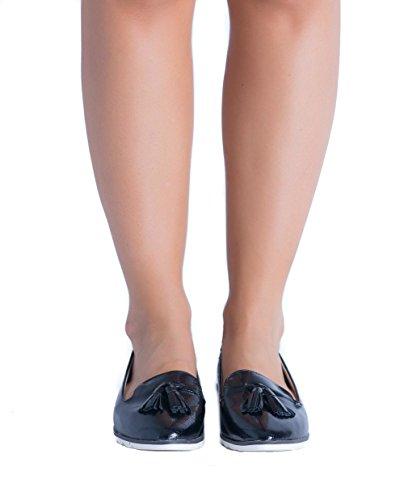 SnobUK - Zapatos Planos con Cordones mujer negro