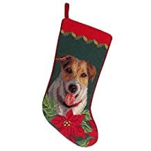 Jack Russell Terrier Dog Needlepoint Christmas Stocking by ED