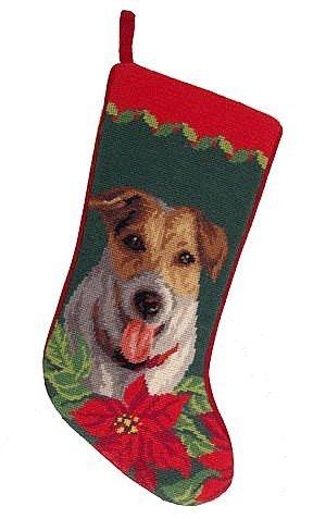Needlepoint Christmas Stocking - Jack Russell (Terrier Needlepoint Christmas Stocking)