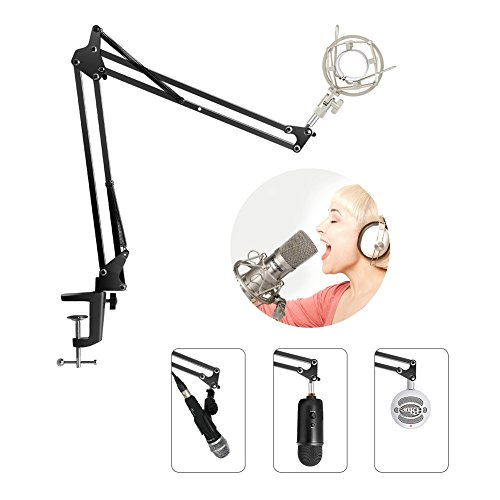 Large Product Image of InnoGear Microphone Suspension Mic Clip Adjustable Boom Studio Scissor Arm Stand for Blue Yeti Snowball Microphone