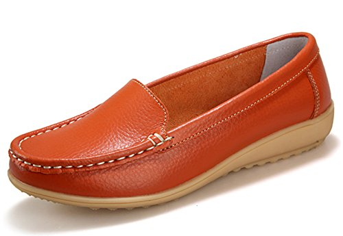 THEZX Women's Genuine Leather Driving Shoes Casual Loafer Flats Boat Shoes Orange