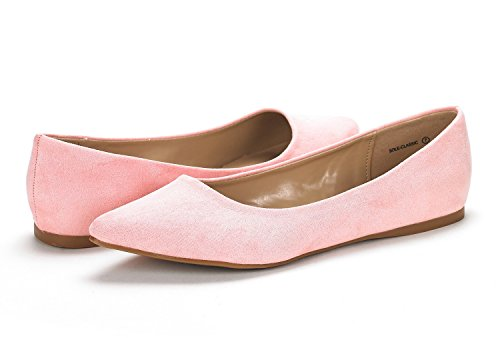 Women's Fancy On Shoes Ballet Soft Slip Sole Casual Classic Pointed Flats Comfort Dream Toe Pairs Pink qtRwI7H