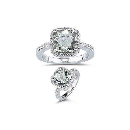 3.75 Ct Diamond & 10 mm AAA Cush Check Green Quartz Ring-14K White Gold-8.0