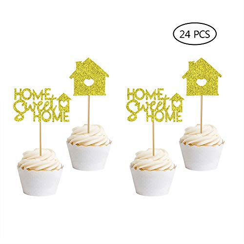 House Cake - Home Sweet Home Cupcake Toppers-24 Pcs Housewarming Cake Topper Housewarming Gift New Home Cake Topper Home Sweet Home Sign New Home Party Decoration