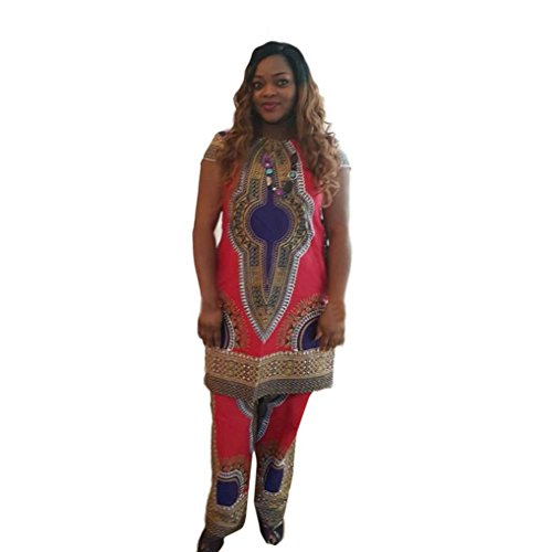 Hot Dashiki Outfit!Elevin(TM)2017 Women Summer African Printing Short Sleeve 2 Piece Sportswear Top+Long Pants Outfit Set (XXL, Red)