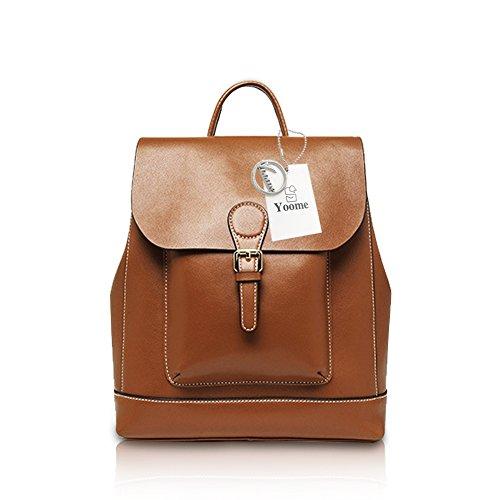 Color School Pure Bookbag Women Backpack Casual Leather Brown Yoome Elegant Classic Purse xUFq77R