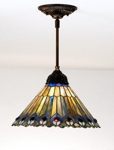 1-Light Tiffany Jeweled Peacock Pendant ()