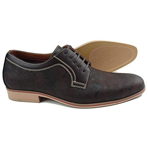 Ferro Aldo MFA-19380BLE Men's Brown Floral Lace Up Round Toe Oxford Dress Shoes (12)