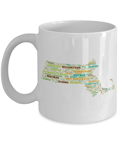 Massachusetts Cities In The Shape Of The State 11 oz Coffee - West City Westfield