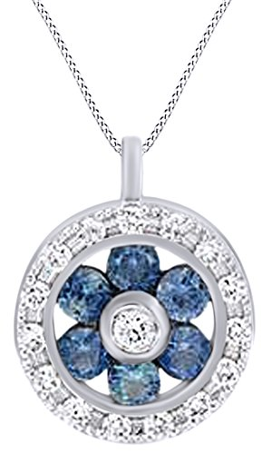 AFFY White Natural Diamond & Simulated Blue Sapphire Floral Pendant Necklace in 14k White ()