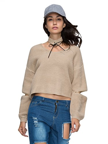 Choies V neck Choker Zipper Sweater