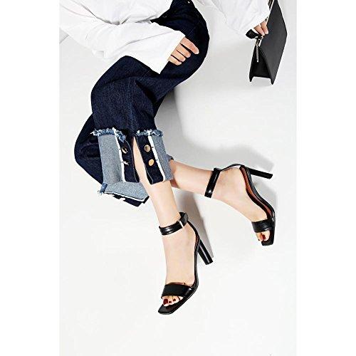 Black Caminar Confort L0317 KJJDE Sandalias Para WSXY Mujer Velcro Zapatilla Zapatos Creativo Tacón Chanclas 7Uq7ROw