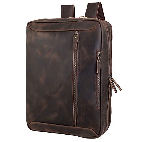 Tiding Convertible Leather Briefcase Backpack 17.3 Inch Laptop Case Business Messenger Shoulder Bag with YKK Zipper