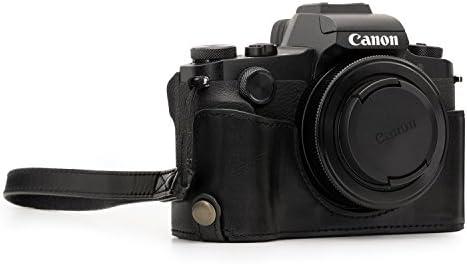 MegaGear MG1387 para Canon PowerShot G1X Mark III Estuche Ever Ready, Media Funda, Estuche de Base, Funda de Cuero, de Pronto Uso, con Correa, Negro: Amazon.es: Electrónica
