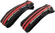 KENDA Kountach K1092 700 x 23C Road Bike Bicycle Folding Tire Tyre, Black/Red, 2 Tire, KD2001
