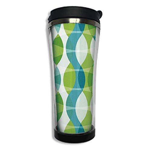 Curve Tumbler (Travel Coffee Mug 3D Printed Portable Vacuum Cup,Insulated Tea Cup Water Bottle Tumblers for Drinking with Lid 14.2oz(420 ml)by,Grunge,Geometric Oval Shapes Elliptic Vertical Curves Nature Theme Patte)