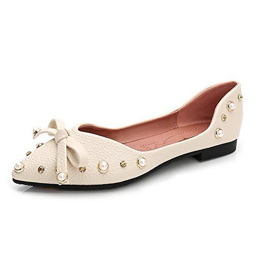Sharp Blando Wild Blanco La Planos Microfibra Fondo Oro Casual Luz Bow 37 Diamond De Superficial Zapatos WULIFANG 05qFF