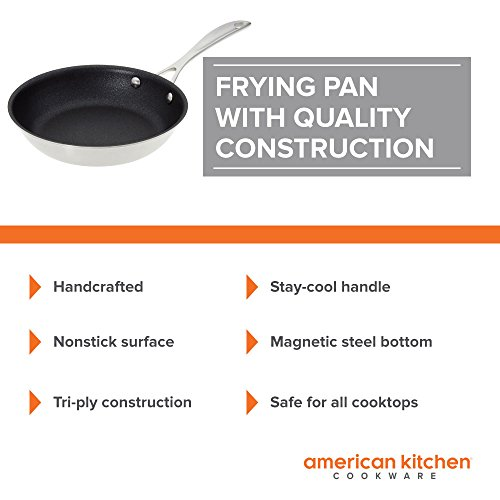 Nonstick Frying Pan - American Kitchen 8-Inch Premium Nonstick Frying Pan - PFOA-Free Nonstick Surface -Tri-Ply Construction - Stay-Cool Riveted Handle