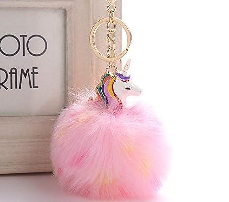 llavero colgante clave pompón de pelo de peluche hembra chica unicornio kawaii colgante original accesorio para el pelo bolsa coche regalo ideal