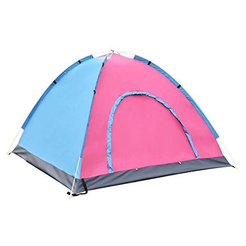 Tangkula 2-3 Person Camping Tent Waterproof Outdoor Sports Hiking Double Layer with Bag (Blue)