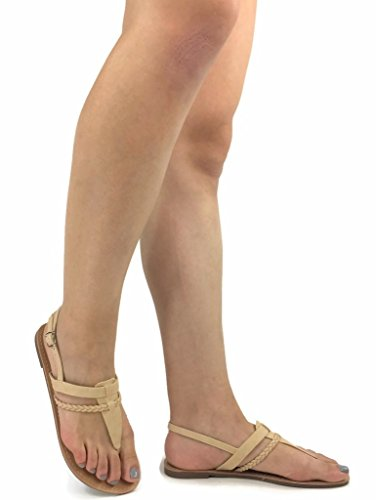 Erica Wedge (Trend Fashions Fashion Erica T-Strap Sandal Small Wedge Flat Strap Thong, Beige, 7)