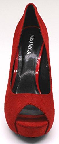 Jaro Vega Donna Open Toe Platform Stiletti Pompe Red-fab