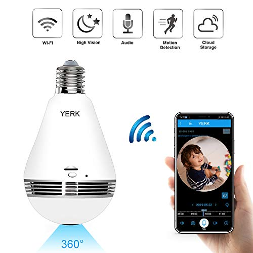 Great Deal! WiFi Security Light Bulb Camera, 360 Degree Panoramic 1080p IP Camera with IR Motion Det...