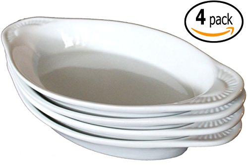 CAC Ceramic Oval Rarebit / Au Gratin Baking Dish with Pan Scraper, Set of 4, Pure White (12 Ounce)