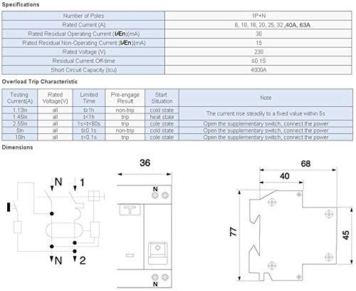 Interruptor diferencial 40A 30mA curva AC