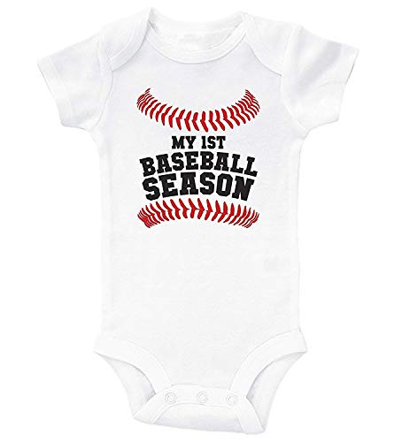 Baseball Baby Onesie - My First Baseball Season/Baby Bodysuit Outfit White
