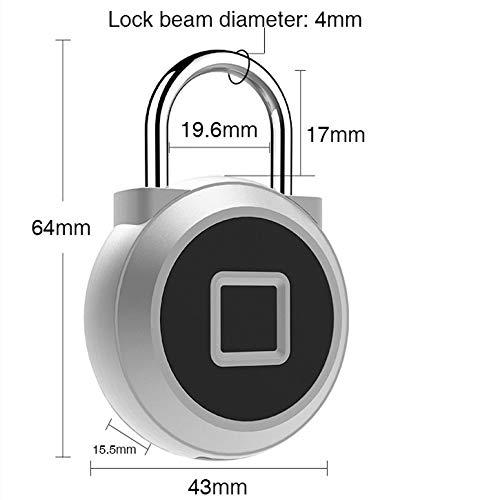 eLinkSmart Fingerprint Padlock IP65 Waterproof Security Keyless Lock USB Chargable Finger Detection Smart Anti-Thef Luggage Locker for House Door,Backpack Travel Suitcase,Bike
