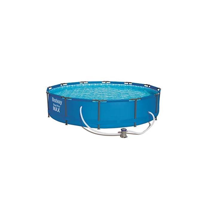 41zPug0yF0L Fácil montaje – Pese a su resistente marco de acero, esta piscina elevada se puede montar sin herramientas Muy duradera – La piscina para jardín cuenta con robustas paredes laterales de resistente material Tritech Agua limpia – Con la depuradora incluida, el agua de la piscina tubular se puede limpiar sin esfuerzo