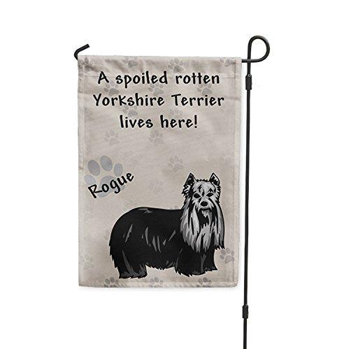 Spoiled Rotten YORKSHIRE TERRIER DOG lives here Yard House Banner Garden Flag Flag & Garden Pole 8