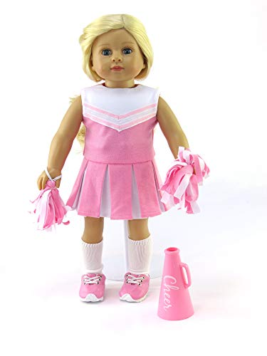 (Pink Cheerleader Outfit Cheerleading Uniform with Dress, Bloomers, Poms, Megaphone, Socks, and Shoes | Fits 18