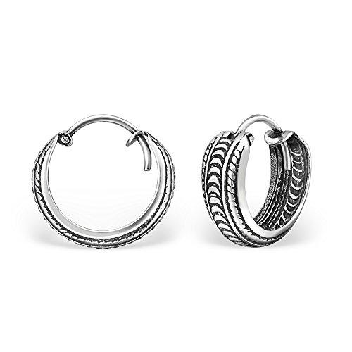 925 Sterling Silver 1/2inch Endless Hoop Earrings 30751-60 (C)