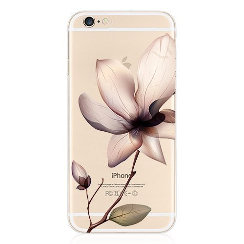 iPhone 8 / 7 , Colorful Rubber Flexible Silicone Case Bumper Clear Cover - Vintage Lily Flower ()