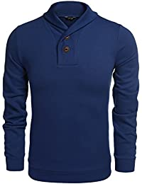 COOFANDY Men's Casual Shawl Collar Sweater Long Sleeve Pullover